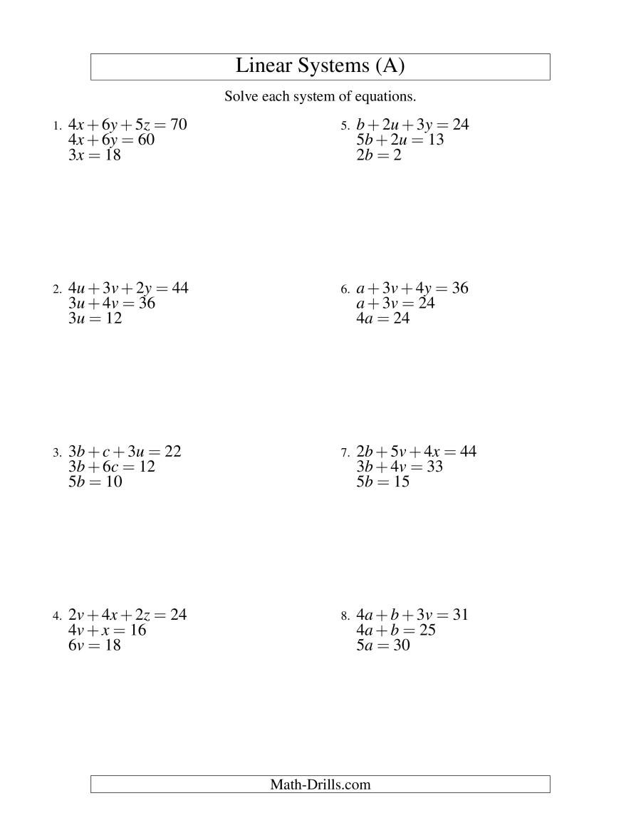 Systems Of Equations Worksheet Pdf Worksheets 41 solving System Equations by Substitution
