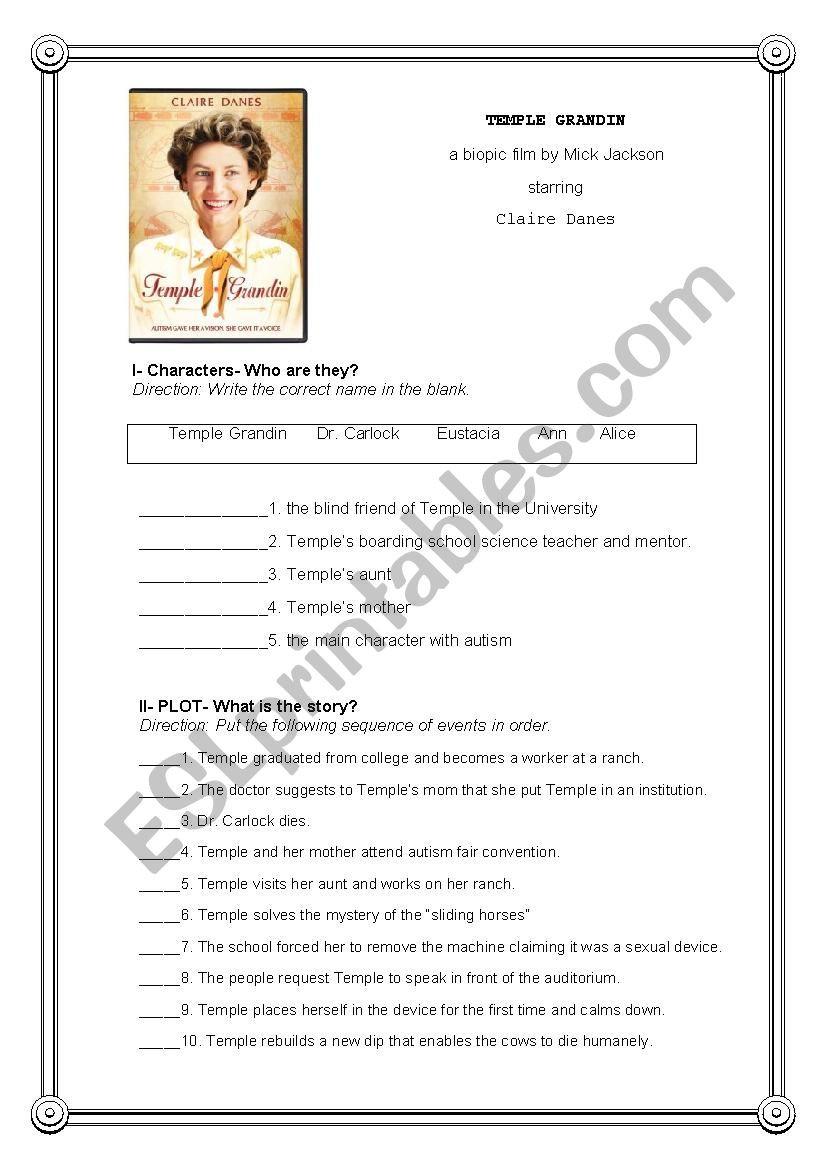 Temple Grandin Movie Worksheet Temple Grandin Post Movie Activity Esl Worksheet by