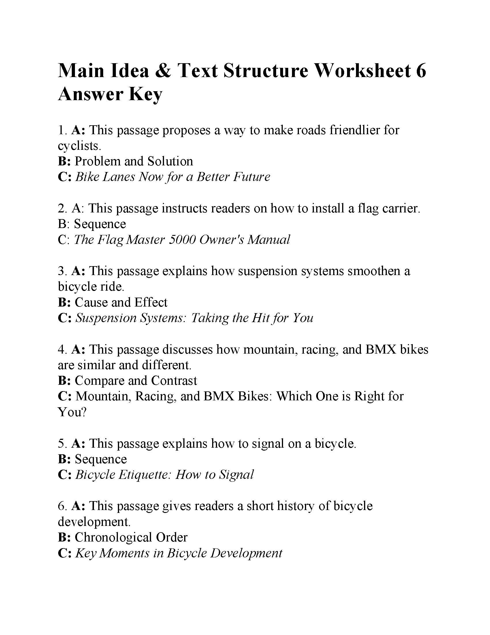 Text Structure Worksheet Pdf Main Idea and Text Structure Worksheet 6