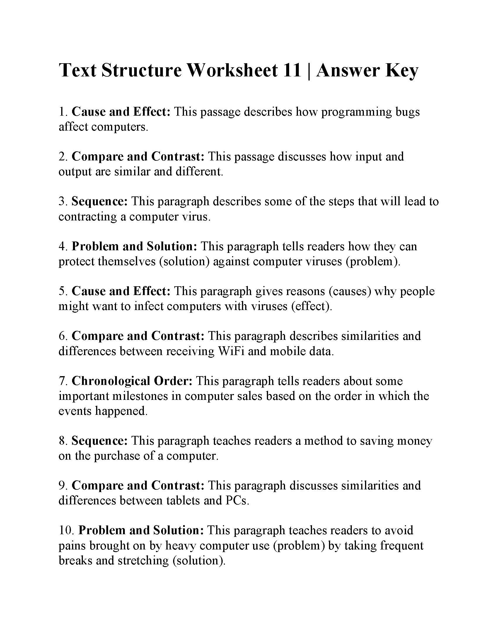 Text Structure Worksheet Pdf Text Structure Worksheet 11