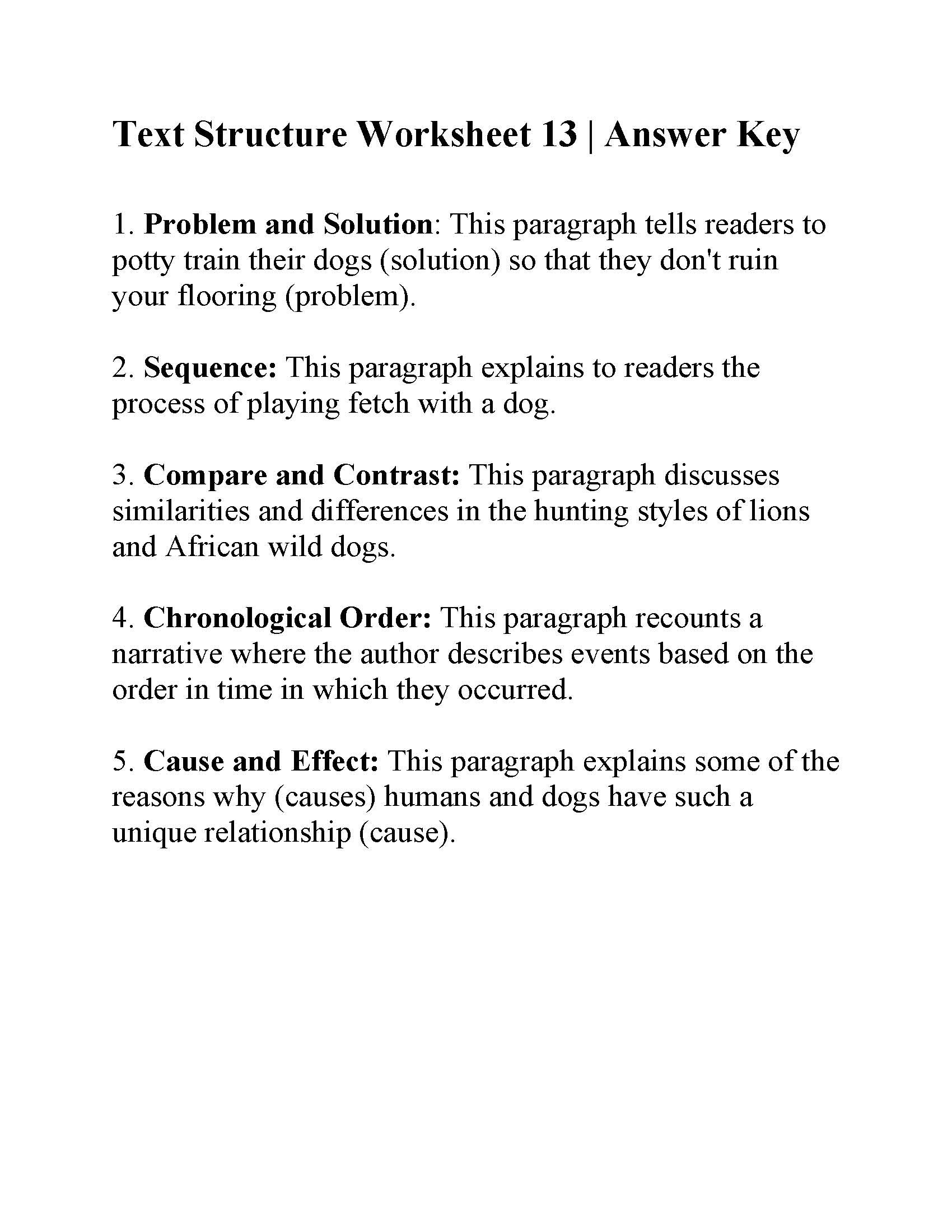 Text Structure Worksheet Pdf Text Structure Worksheet 13