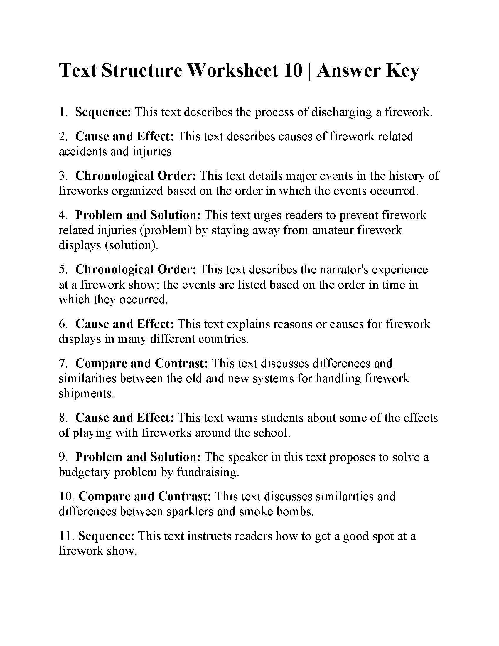 Text Structure Worksheet Pdf Worksheet Grade 10