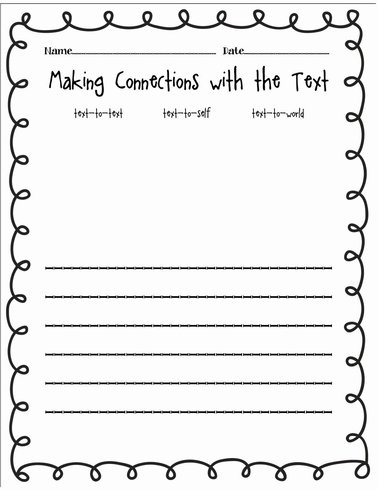 Text to Text Connections Worksheet 50 Text to Text Connections Worksheet In 2020