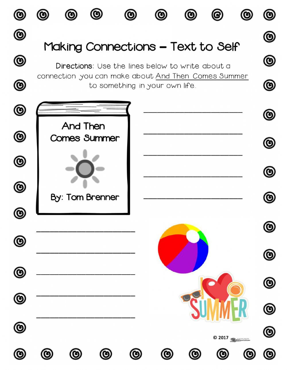 Text to Text Connections Worksheet and then Es Summer Reading Friday June 8th