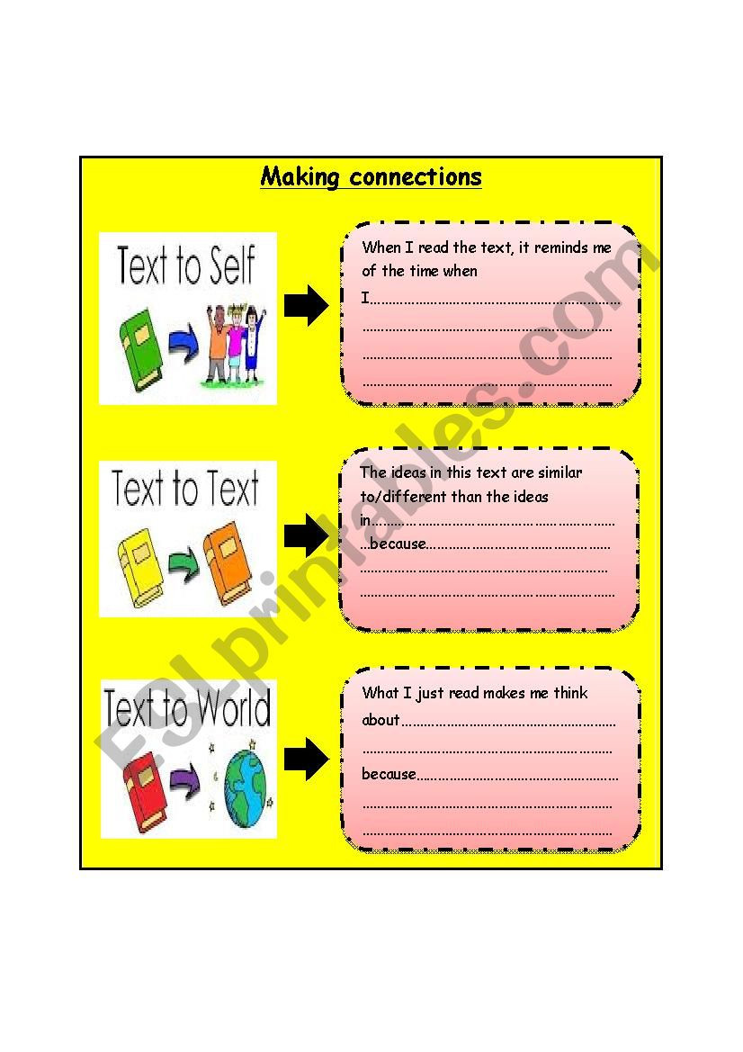 Text to Text Connections Worksheet Making Connections Esl Worksheet by Basima