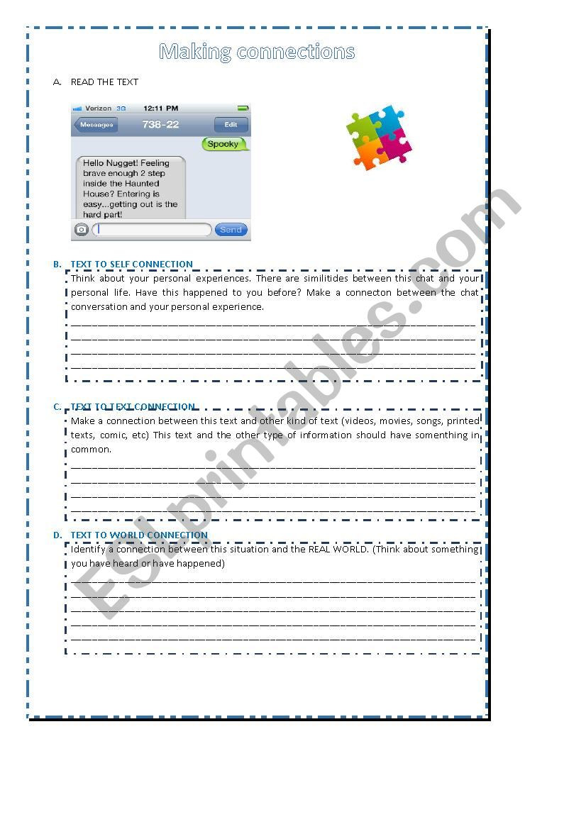 Text to Text Connections Worksheet Making Connections Esl Worksheet by Dayanna