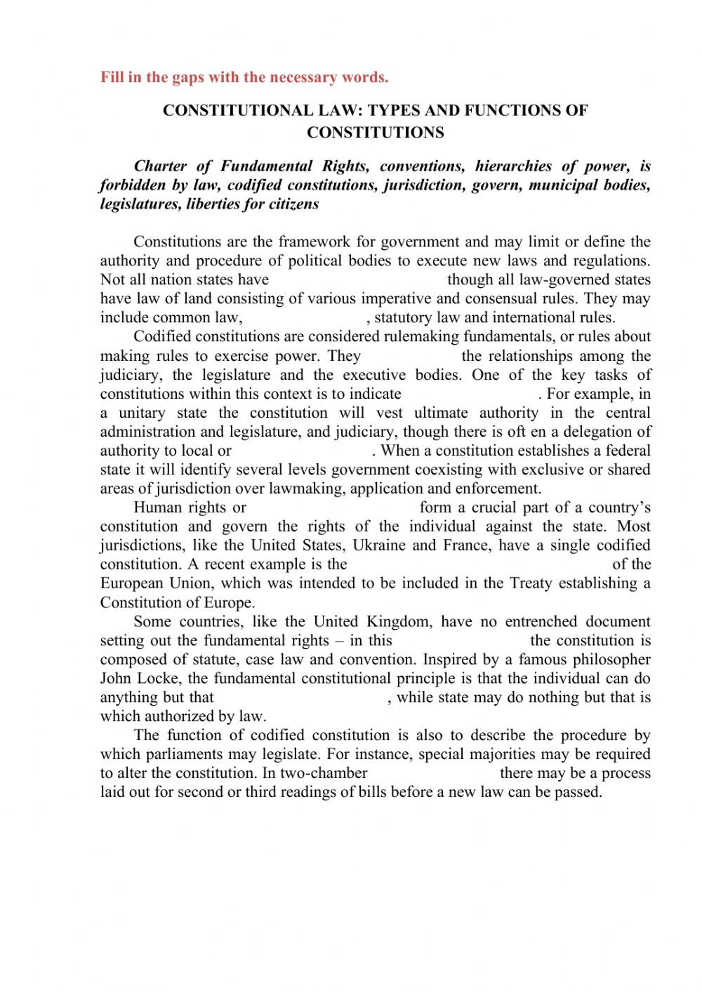 The Constitution Worksheet Answers Constitutional Law Interactive Worksheet