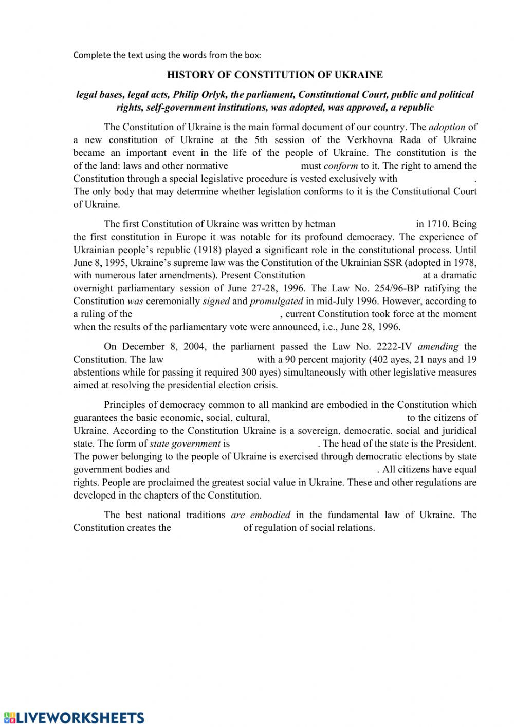 The Constitution Worksheet Answers History Of Constitution Of Ukraine Interactive Worksheet
