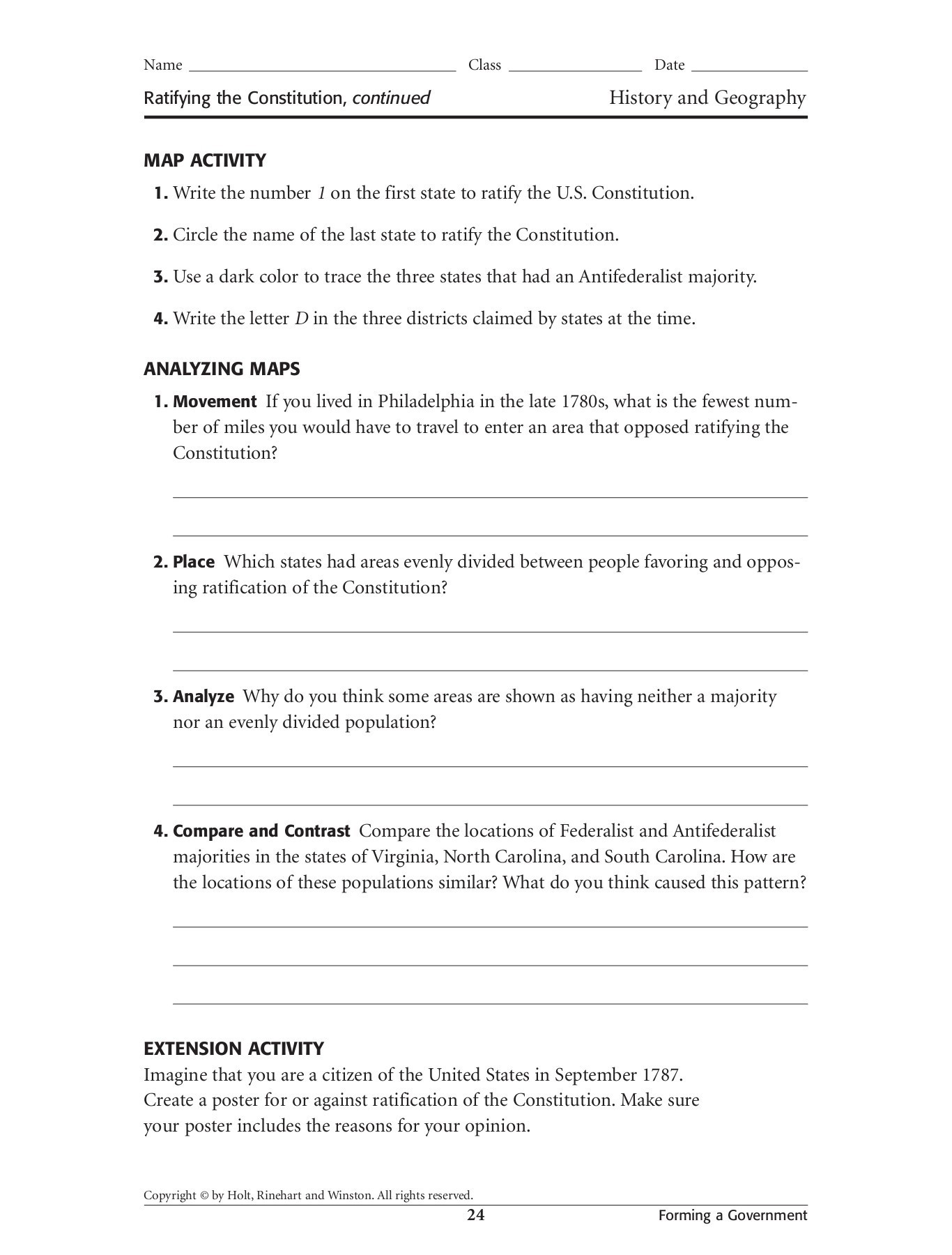 The Constitution Worksheet Answers Ratifying the Constitution Pages 1 3 Text Version