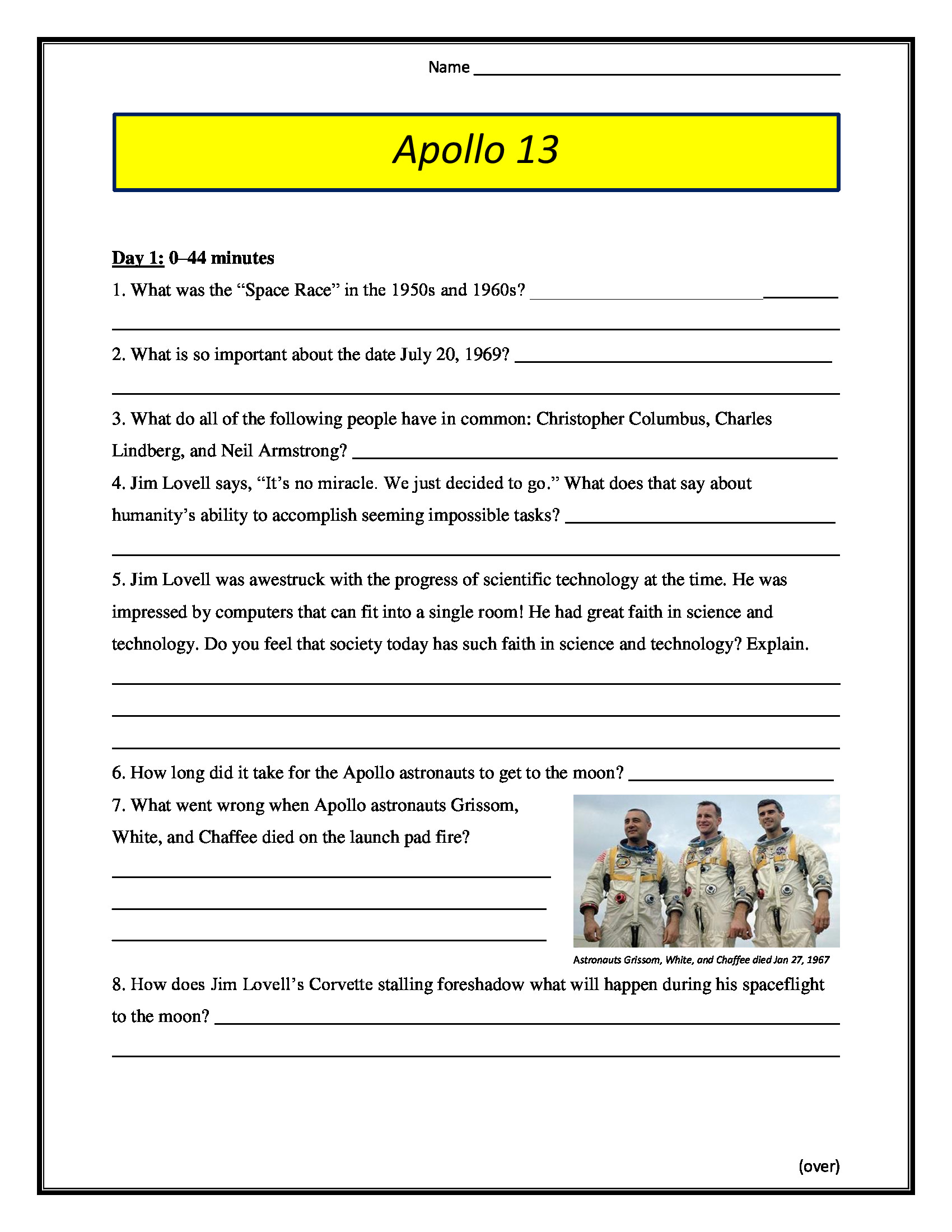 The Core Movie Worksheet Answers Apollo 13 Movie Worksheet 1995 Pg 13