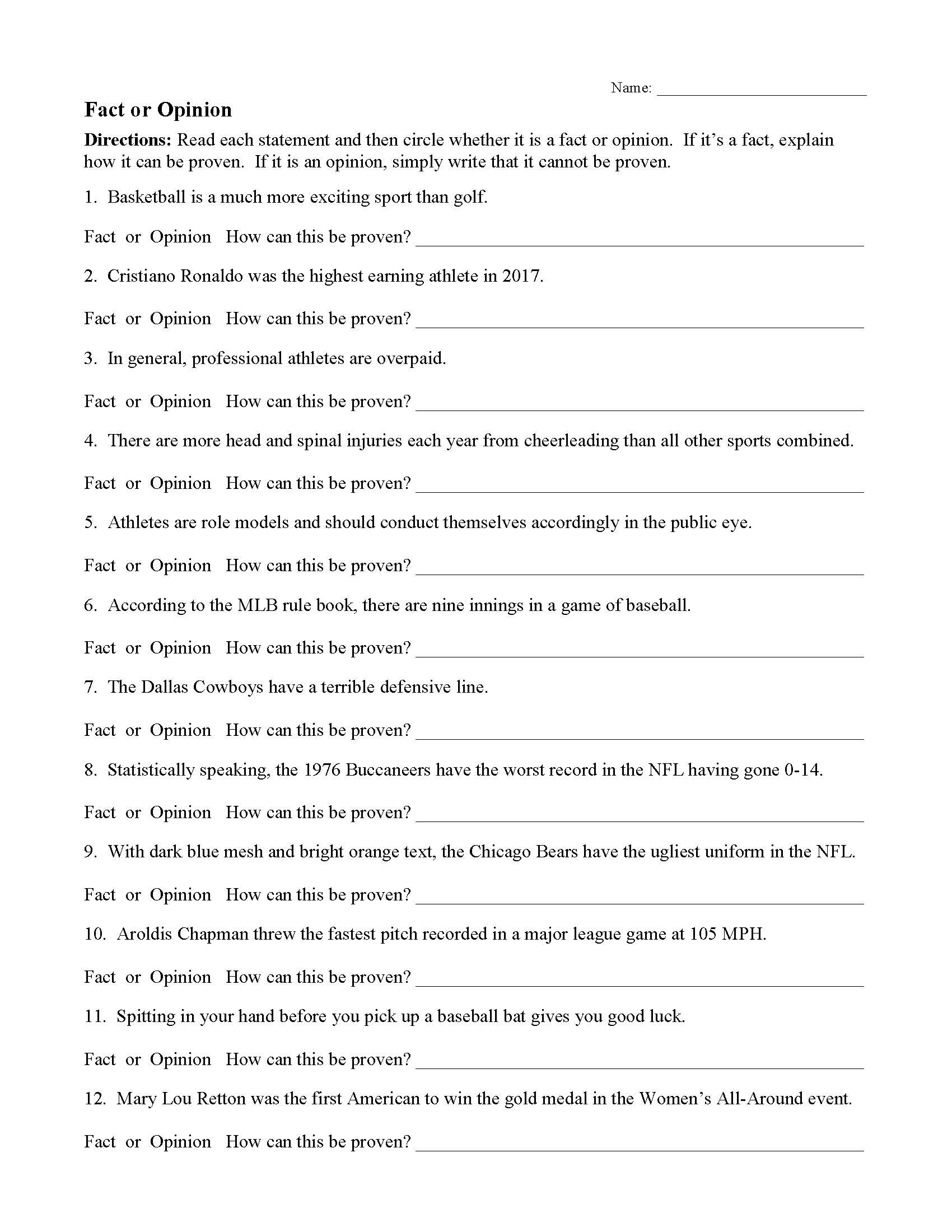 The Core Movie Worksheet Answers Fact and Opinion Worksheets
