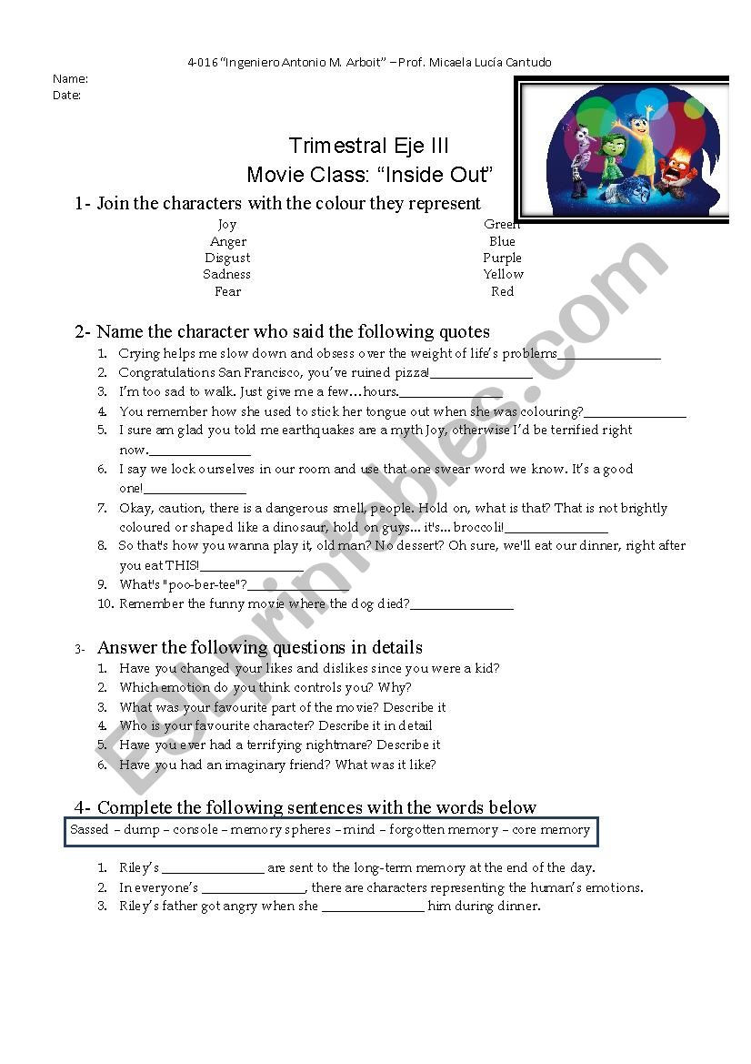 The Core Movie Worksheet Answers Inside Out Esl Worksheet by Mikacantudo