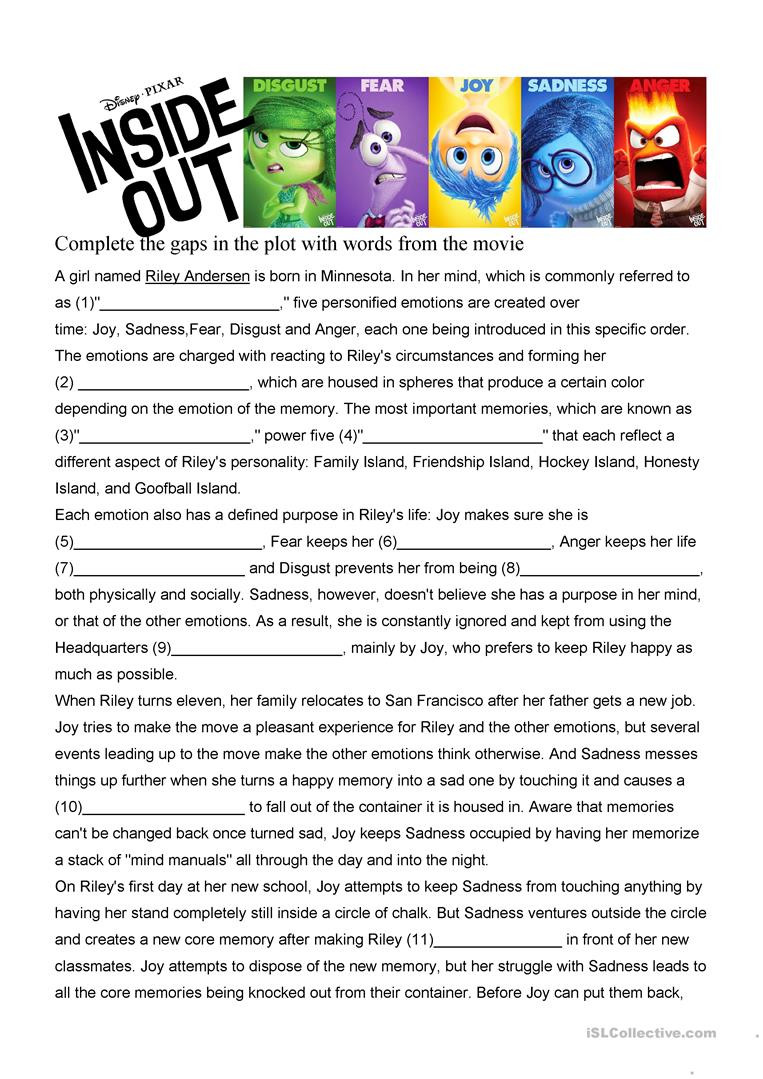 The Core Movie Worksheet Answers Inside Out Movie Worksheet English Esl Worksheets for