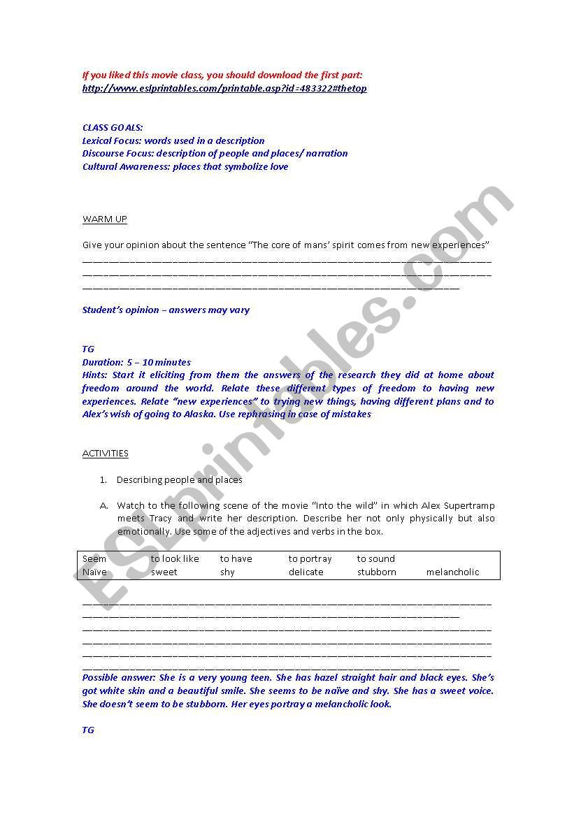 The Core Movie Worksheet Answers Movie Into the Wild Part 2 Esl Worksheet by Angelocunha