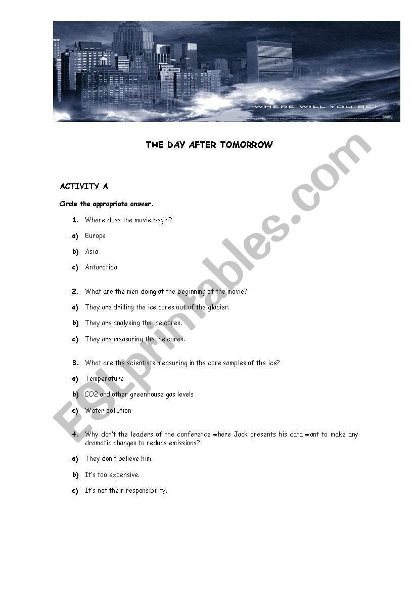 The Core Movie Worksheet Answers the Day after tomorrow Esl Worksheet by Betinha78