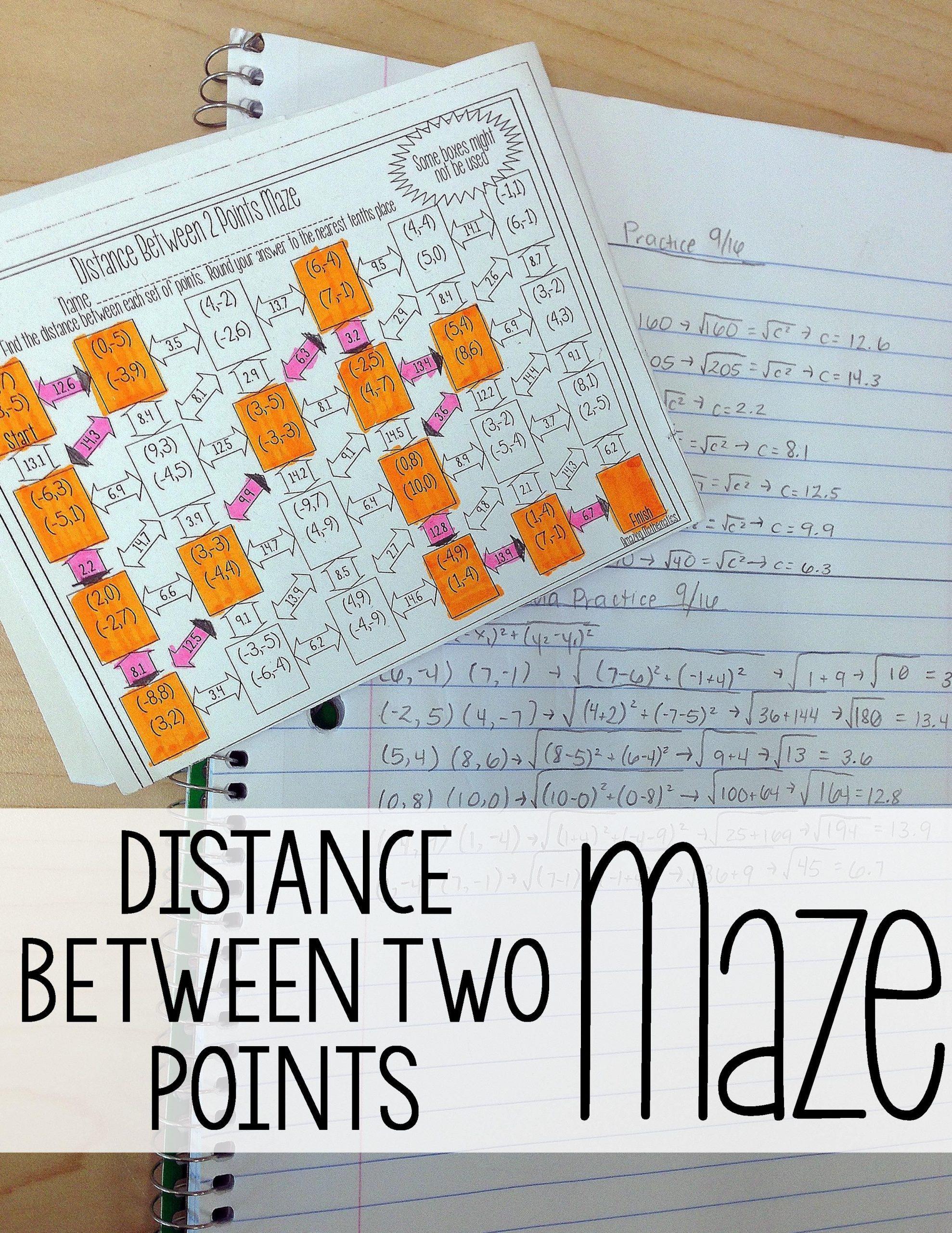 The Distance formula Worksheet Answers Distance formula Maze