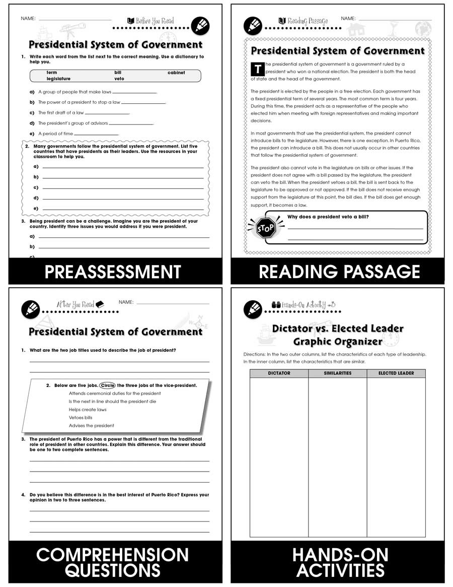 The Electoral Process Worksheet Answers World Electoral Processes Presidential System Of Government