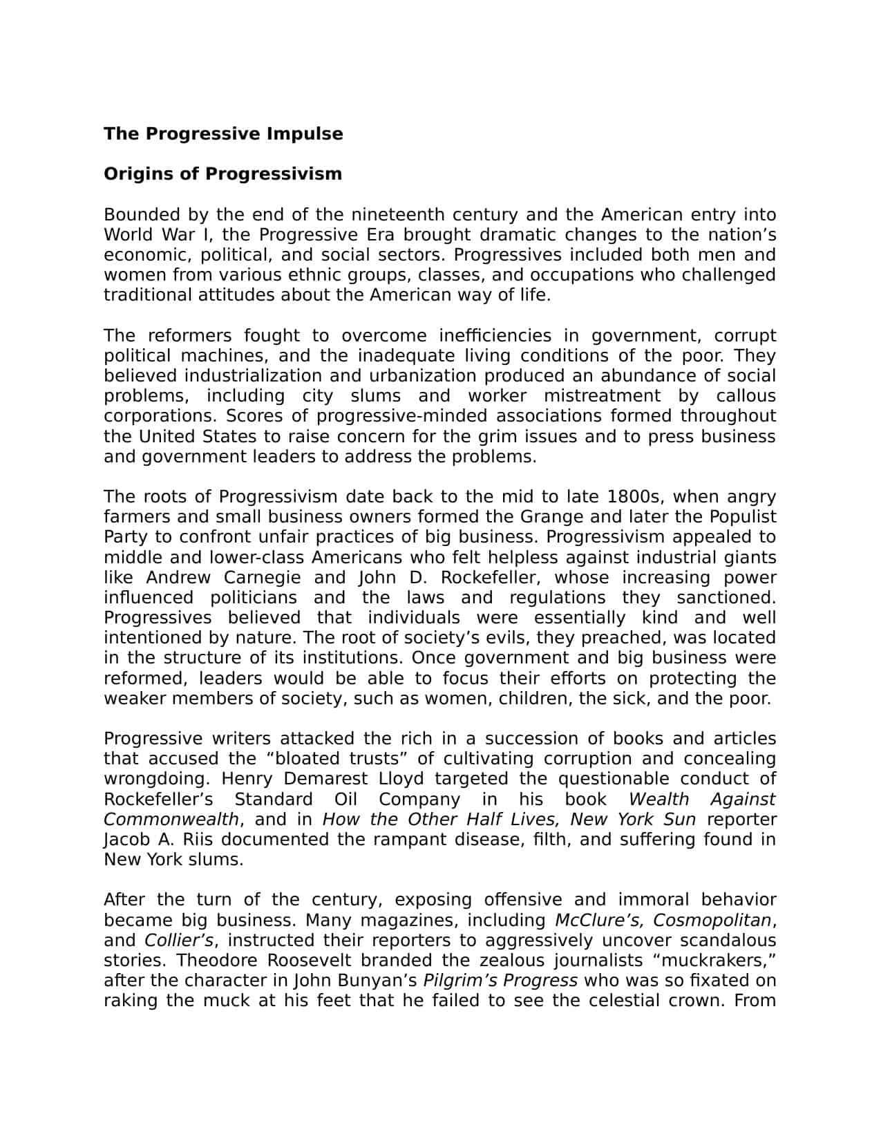 The Progressive Era Worksheet the Progressive Impulse A Level Revision Notes