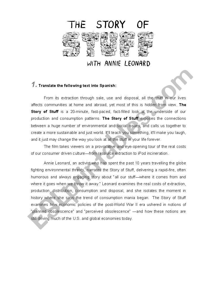 The Story Of Stuff Worksheet Story Of Stuff Worksheet Esl Worksheet by Luisopia