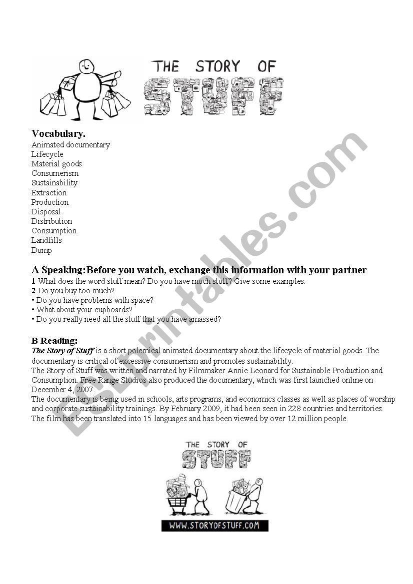 The Story Of Stuff Worksheet the Story Of Stuff Esl Worksheet by Alazneizulain