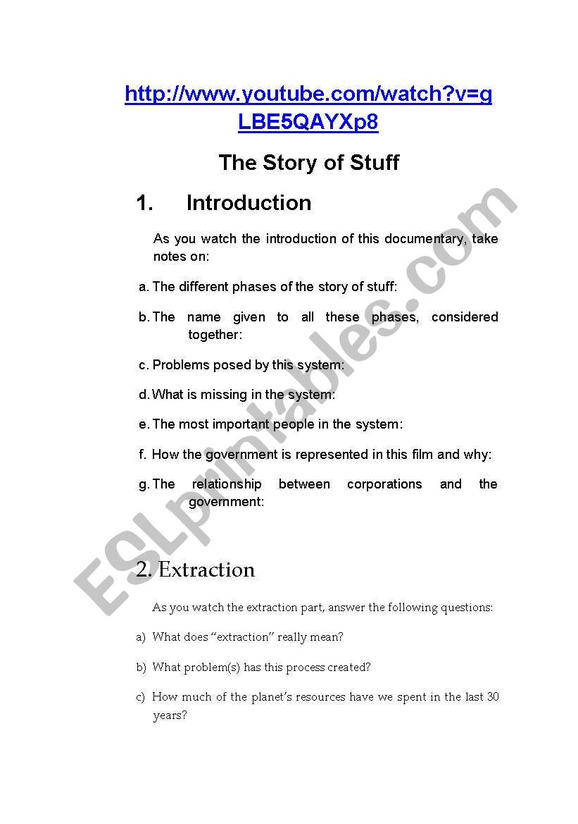The Story Of Stuff Worksheet the Story Of Stuff Esl Worksheet by Fatimalopes