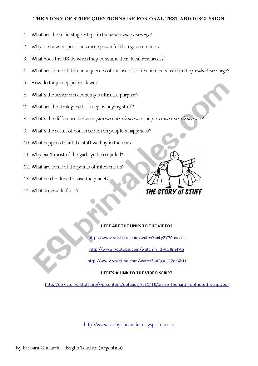 The Story Of Stuff Worksheet the Story Of Stuff Video Questionnaire for oral