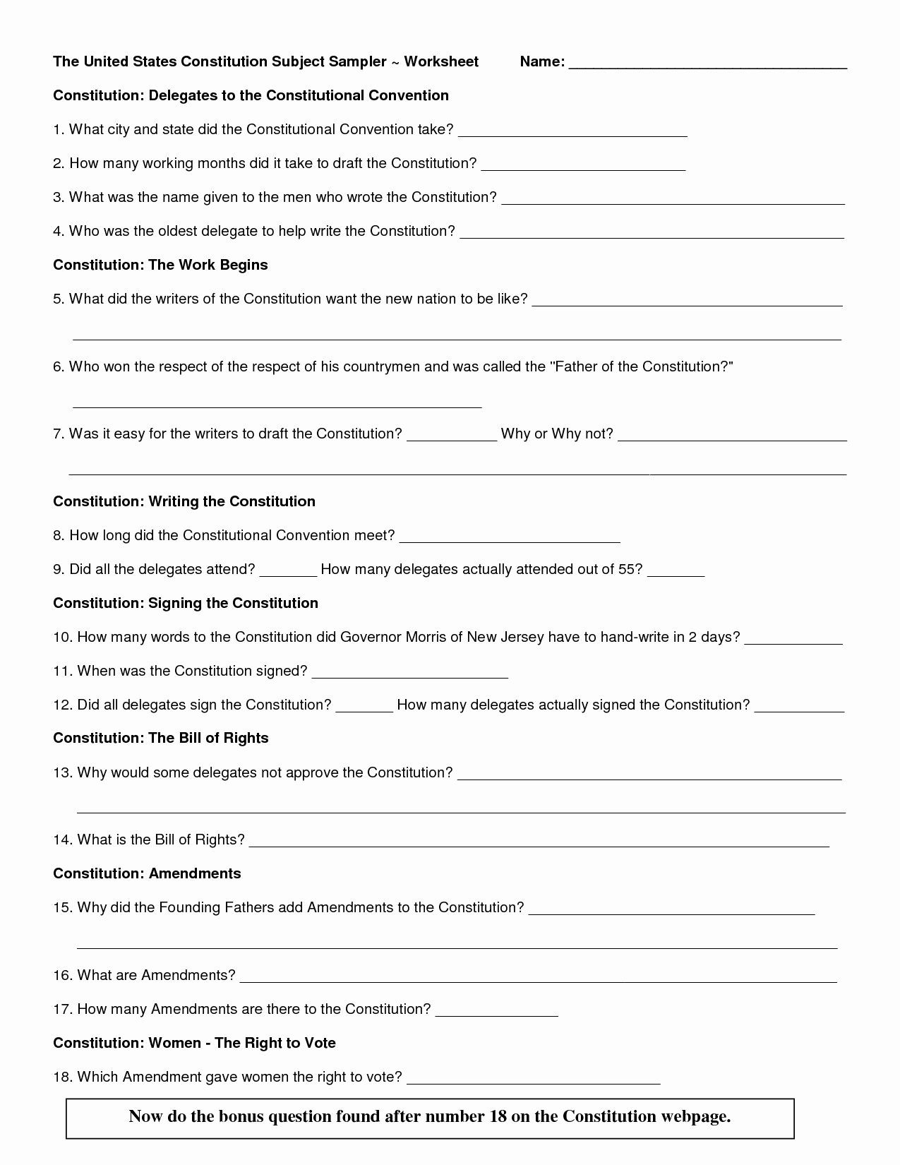 The Us Constitution Worksheet 50 the Us Constitution Worksheet 2020