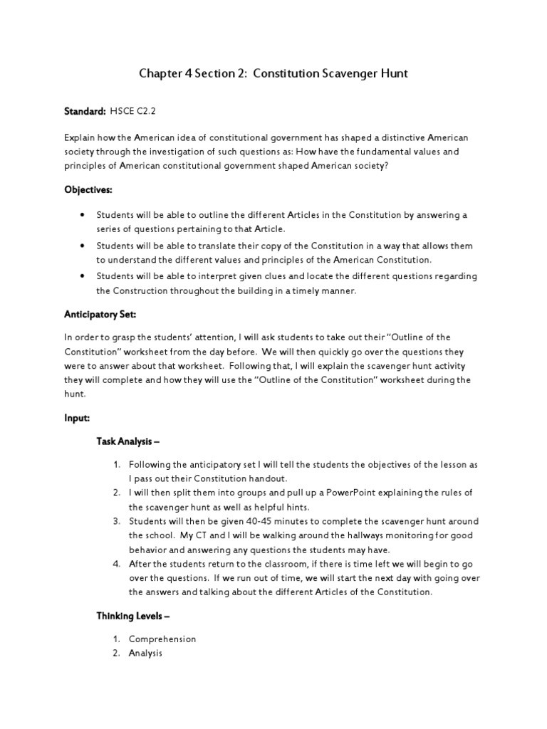 The Us Constitution Worksheet Chapter 4 Section 2 Constitutional Scavenger Hunt Lesson