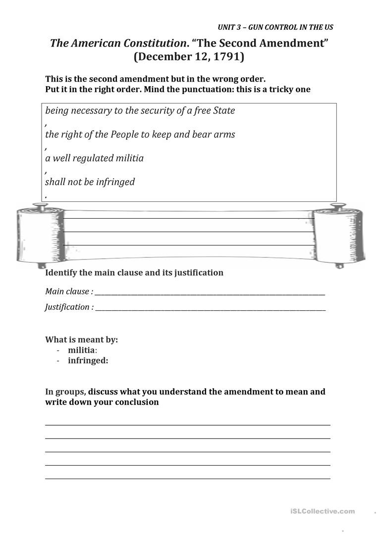 The Us Constitution Worksheet the Second Amendment English Esl Worksheets for Distance