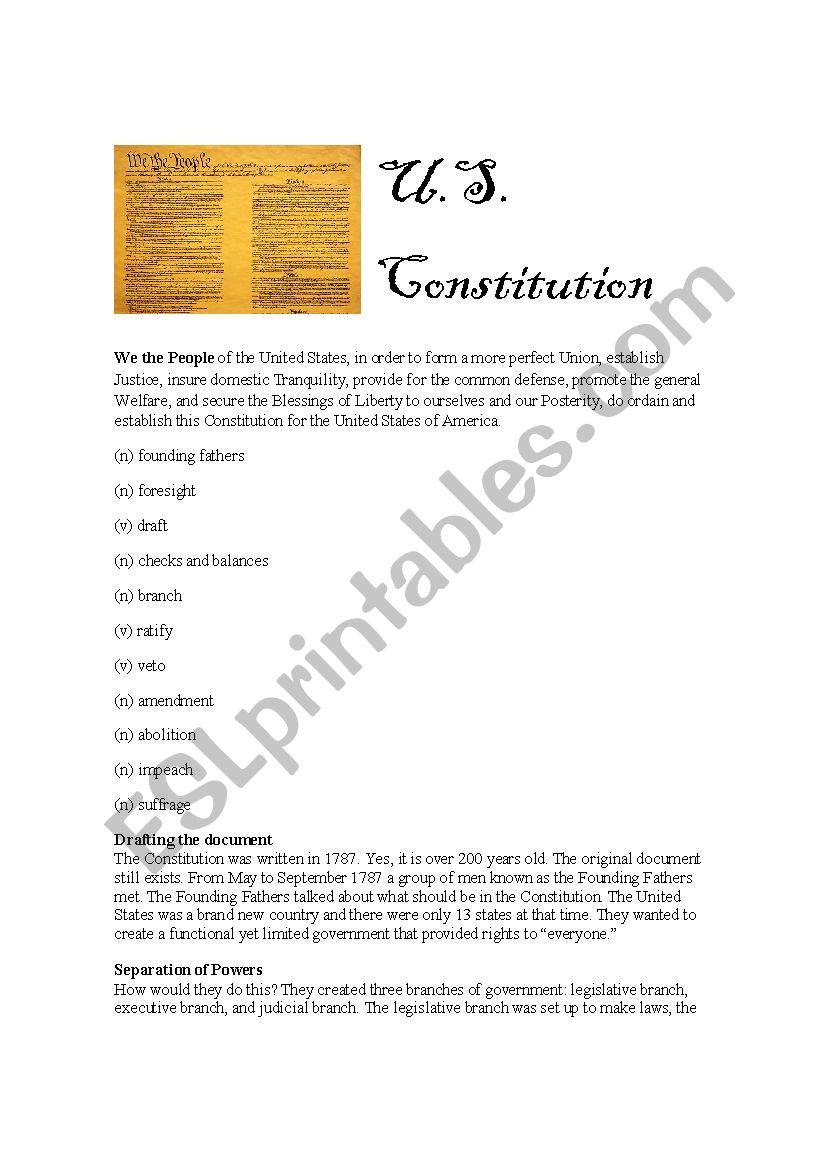 The Us Constitution Worksheet U S Constitution Esl Worksheet by Sarahdyer12