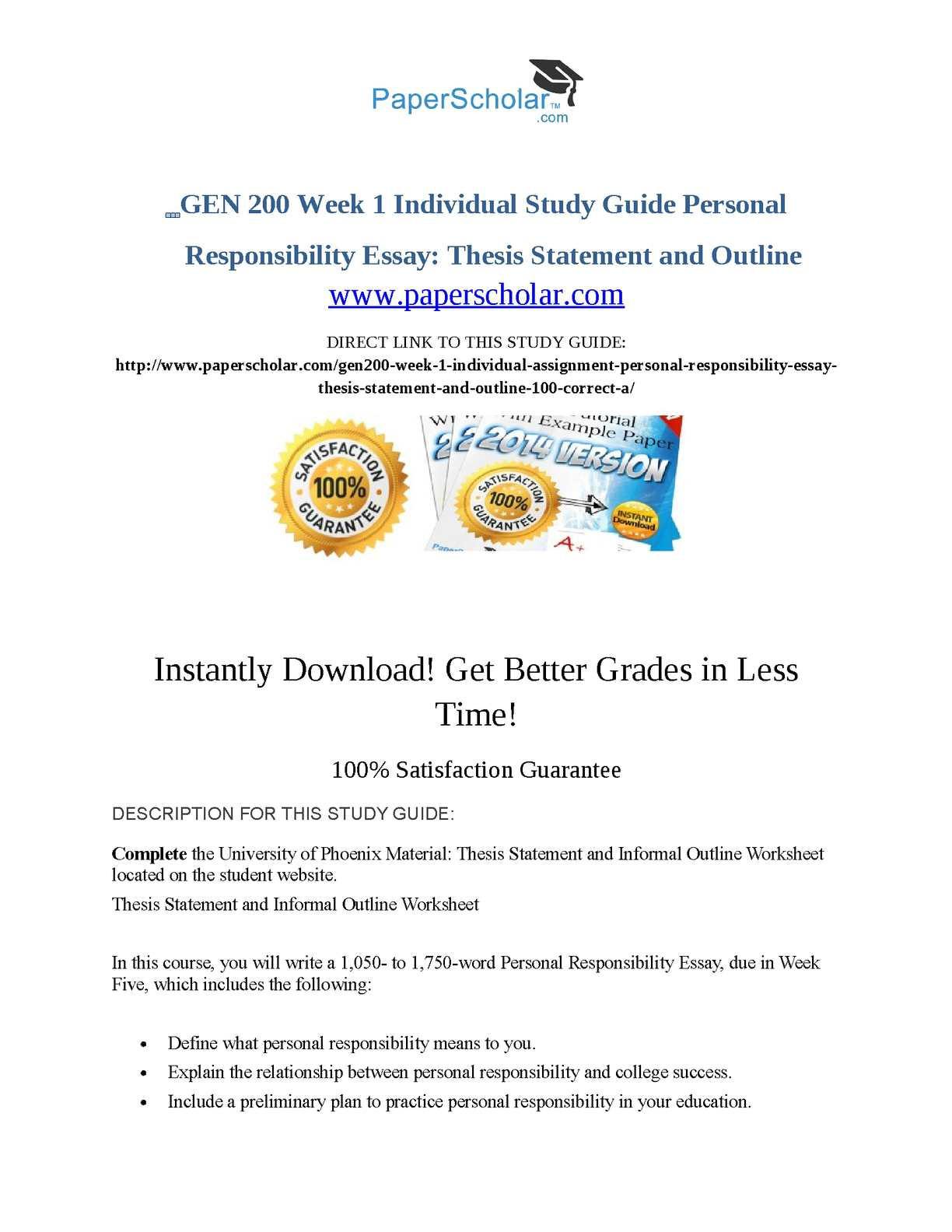 Thesis Statement Practice Worksheet Calaméo Gen 200 Week 1 Individual Study Guide Personal