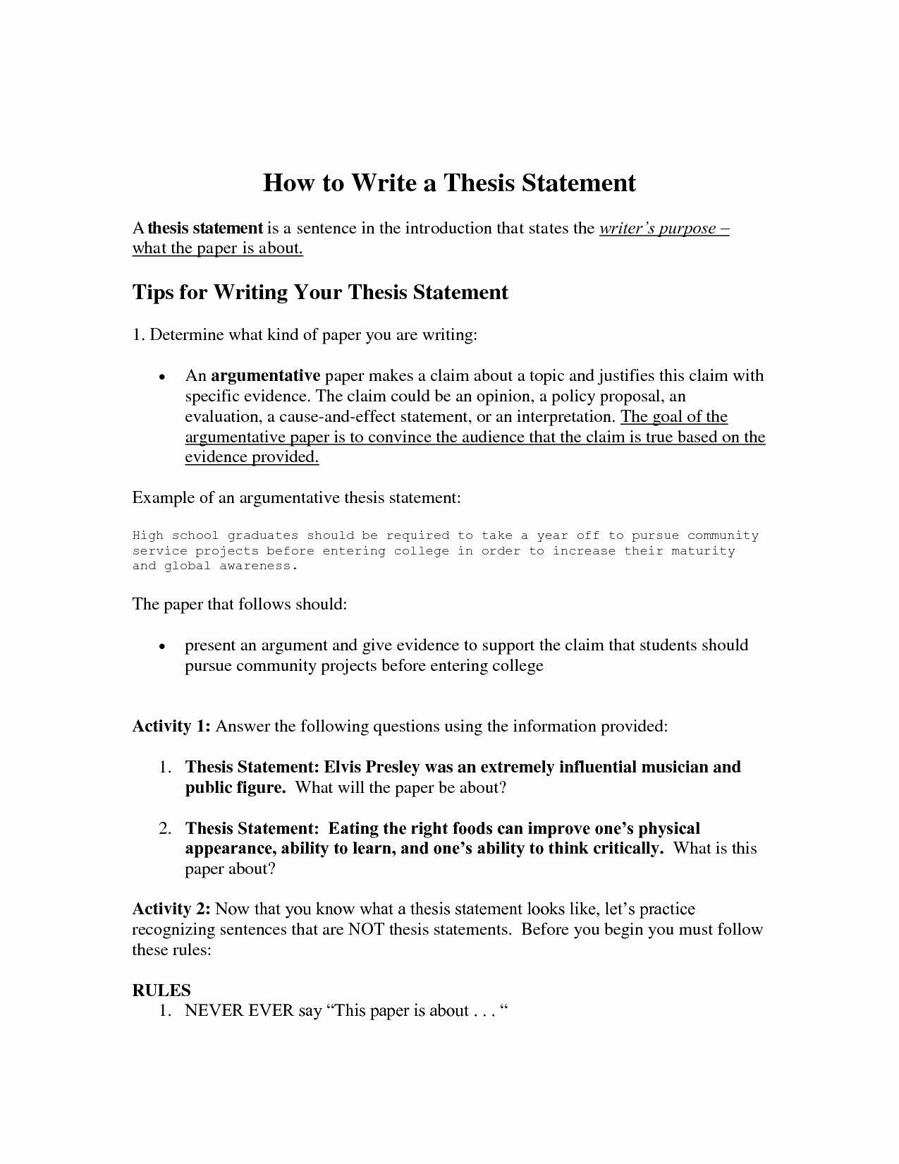 Thesis Statement Practice Worksheet Pin On Writing A thesis Statement