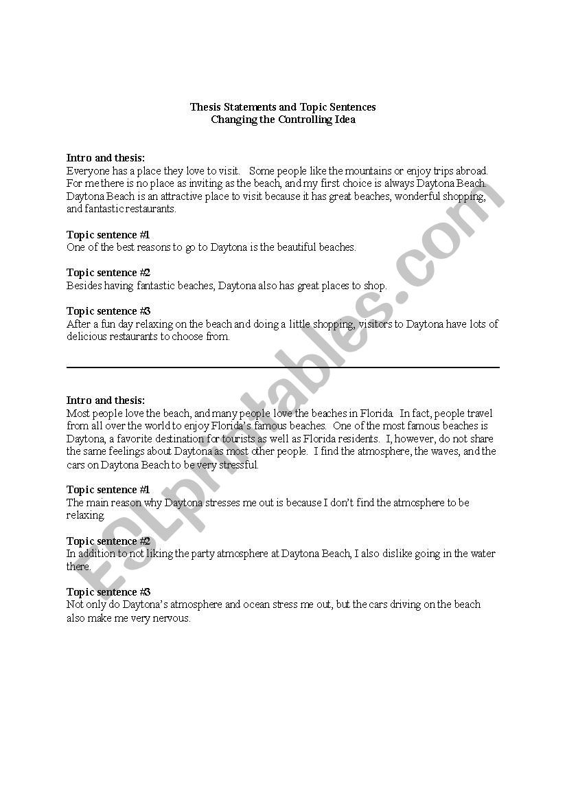 Thesis Statement Practice Worksheet thesis Statements and topic Sentences Esl Worksheet by