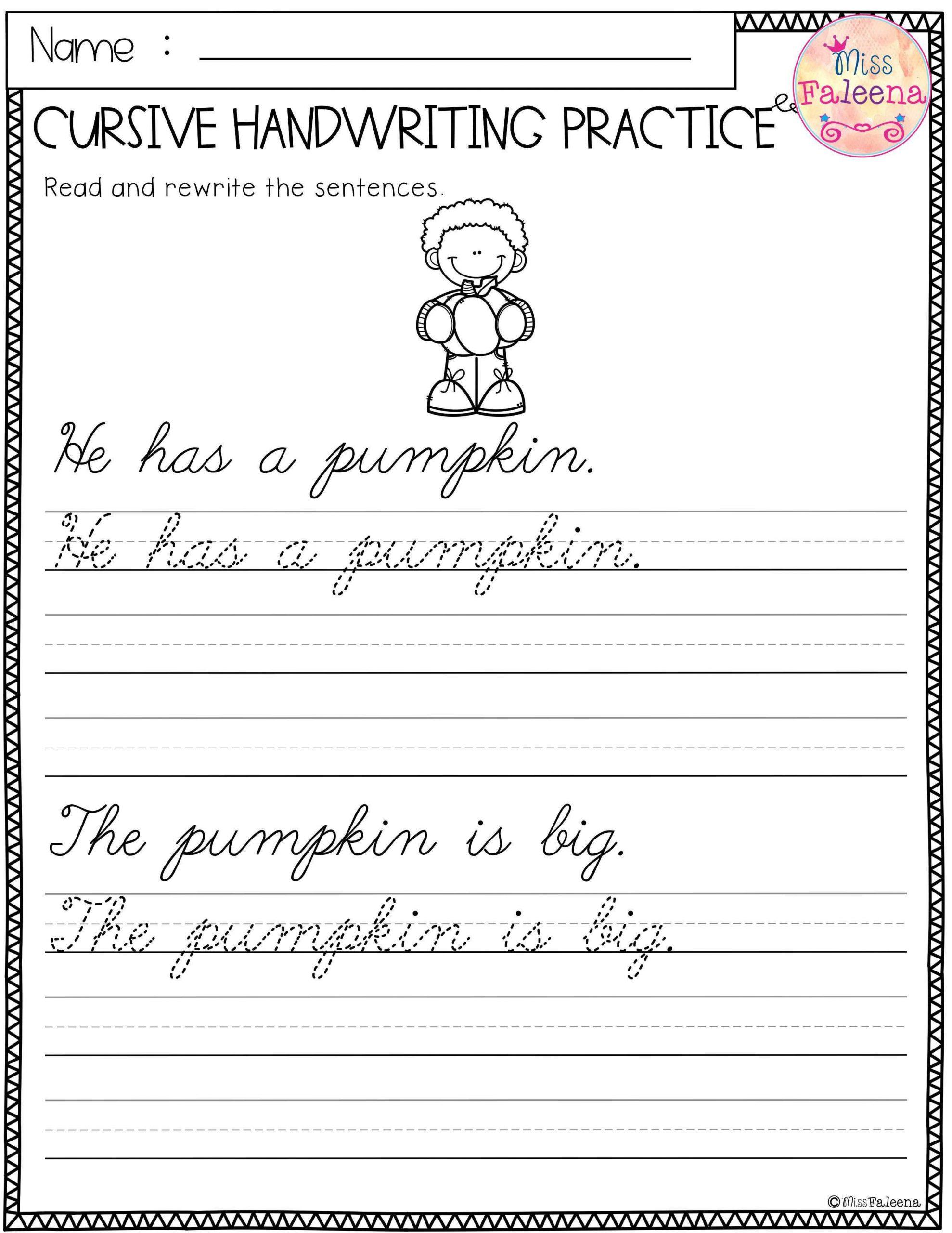 Third Grade Writing Worksheet Free Cursive Handwriting Practice