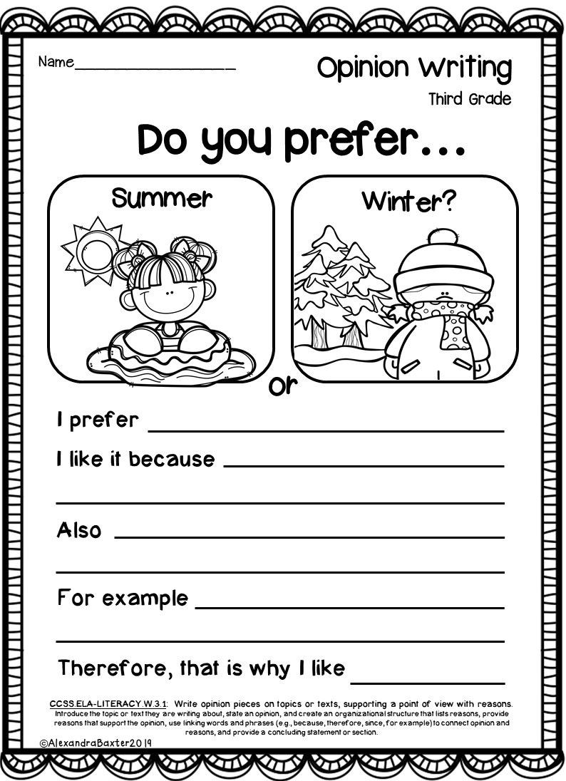 Third Grade Writing Worksheet Third Grade Opinion Writing Prompts and Worksheets In 2020