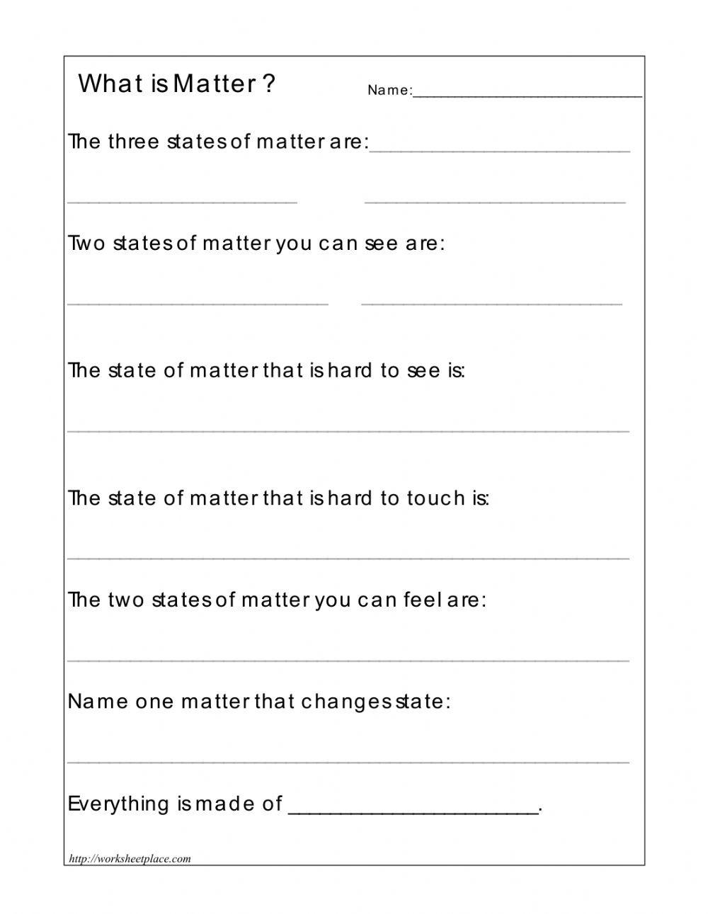 Three States Of Matter Worksheet 3 States Of Matter Interactive Worksheet