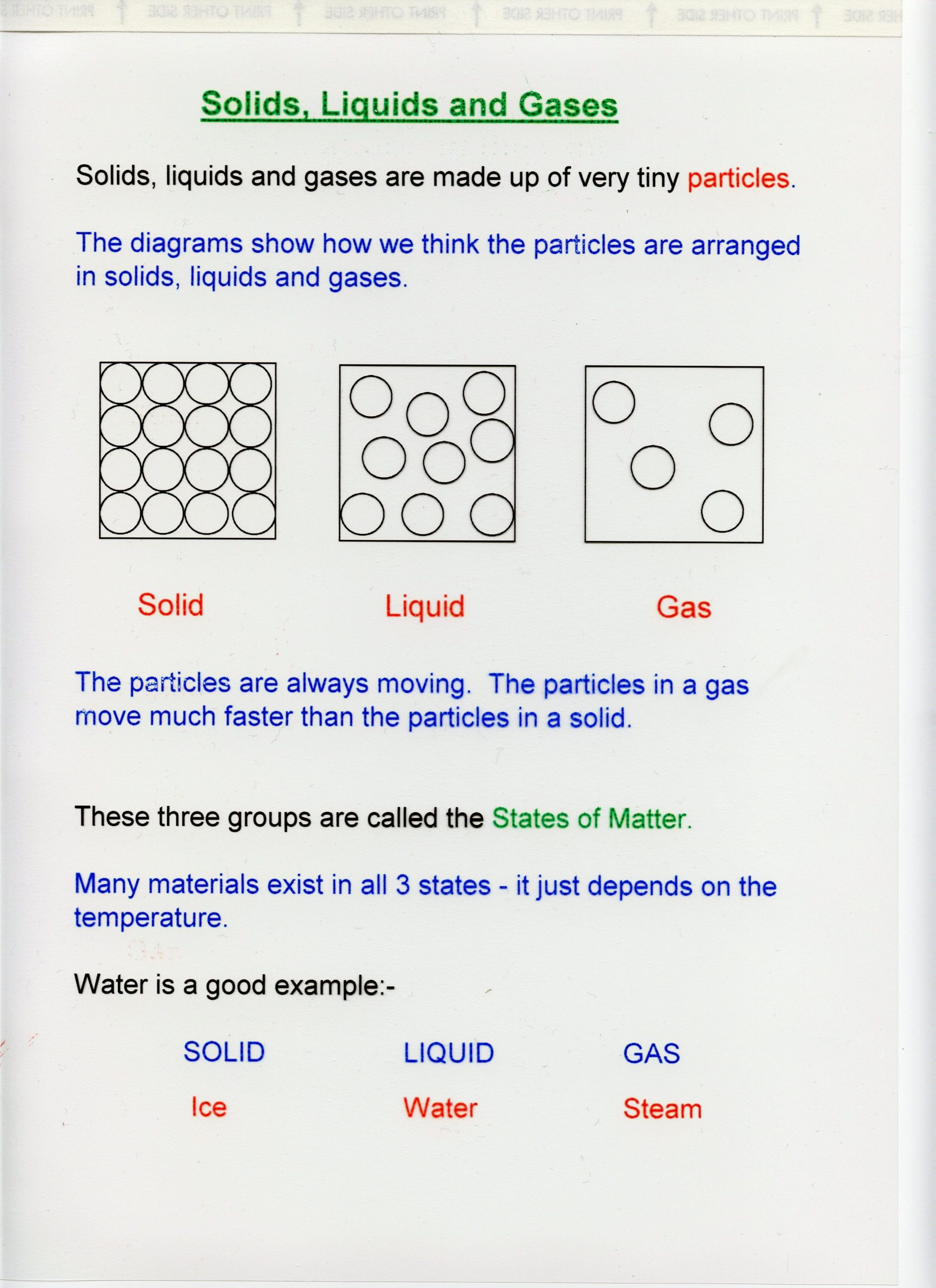 Three States Of Matter Worksheet solutions