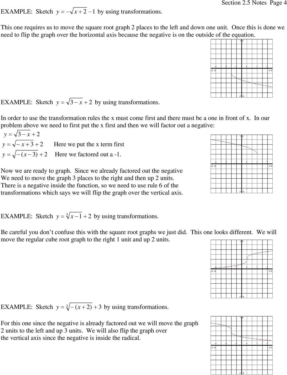 Transformations Of Functions Worksheet 2 5 Transformations Of Functions Pdf Free Download