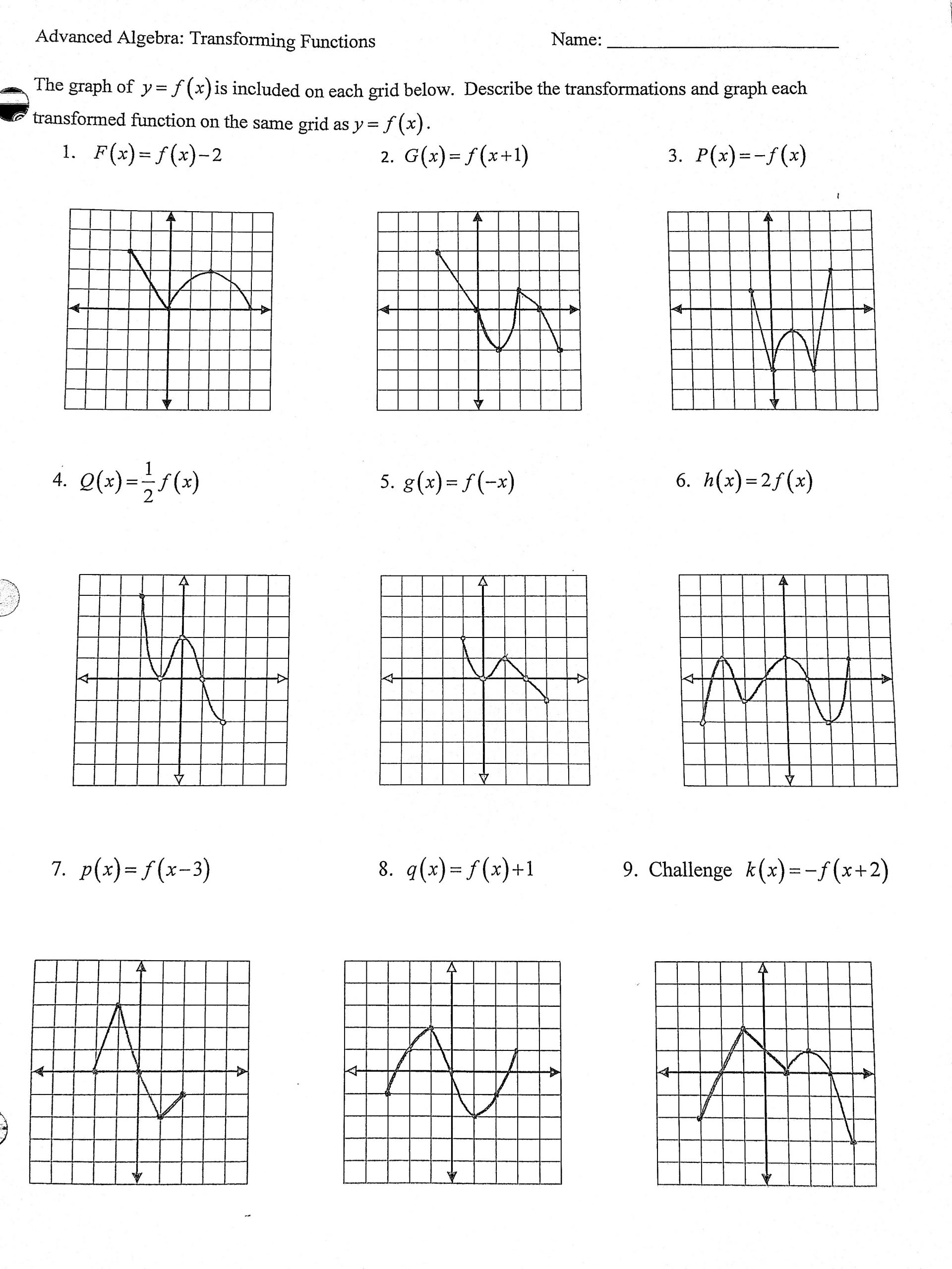 Transformations Of Functions Worksheet Heard Grace Adv Algebra