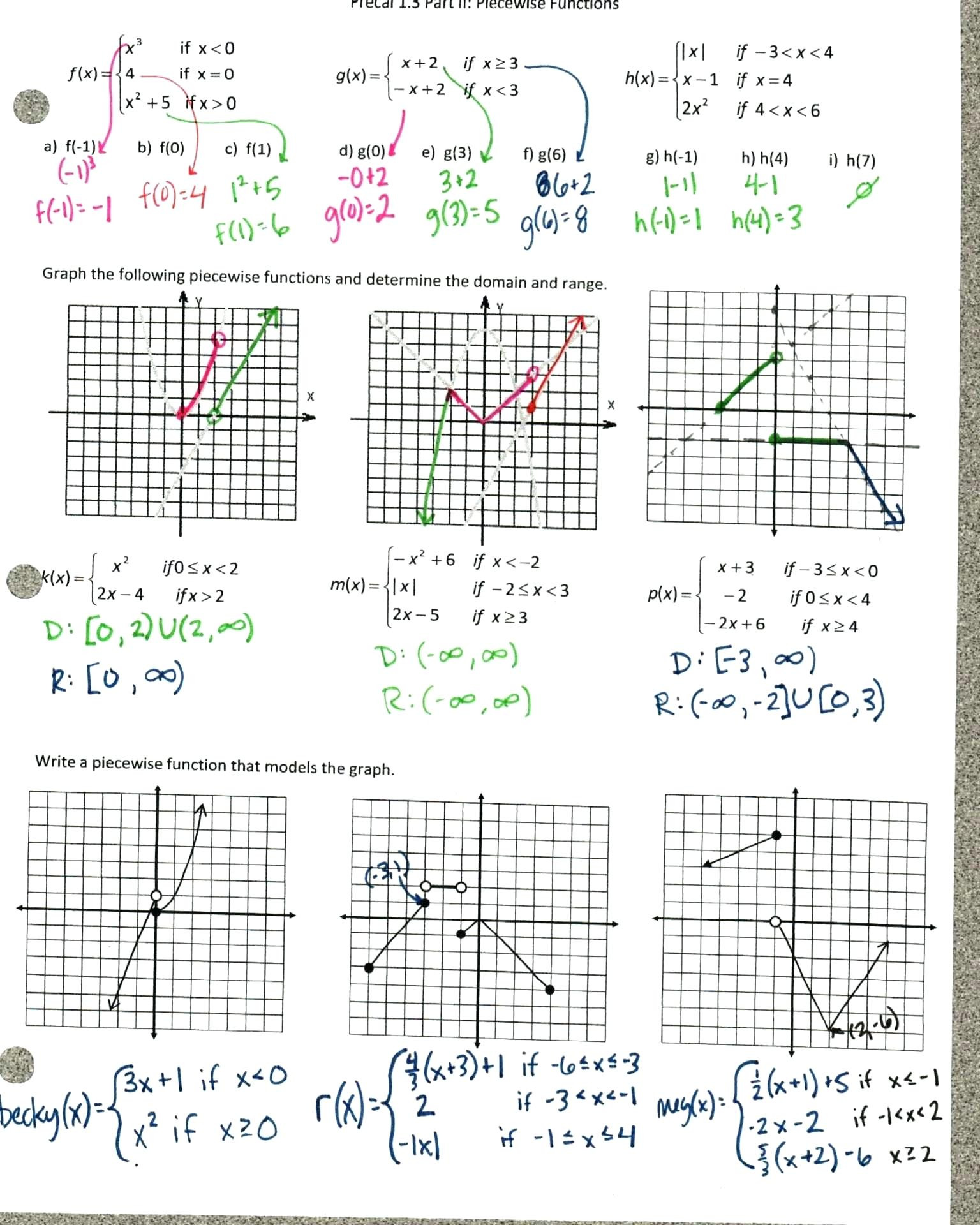 Transformations Of Functions Worksheet Transformations Functions Worksheet with Answers