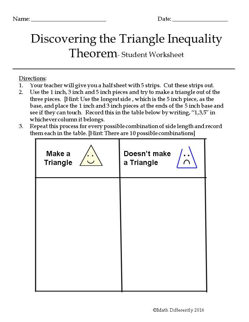 Triangle Inequality theorem Worksheet Discovering the Triangle Inequality theorem Exploration