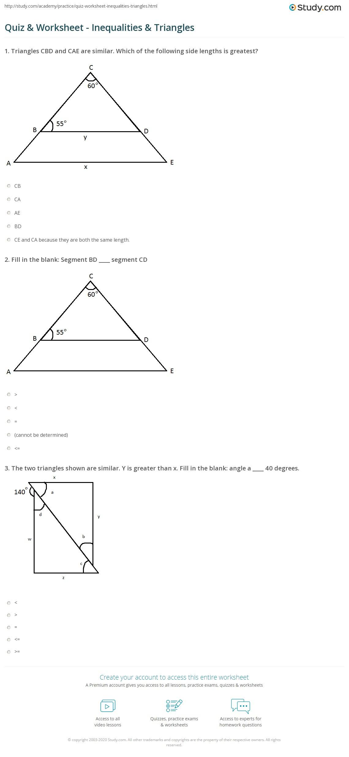 Triangle Inequality theorem Worksheet Quiz & Worksheet Inequalities & Triangles