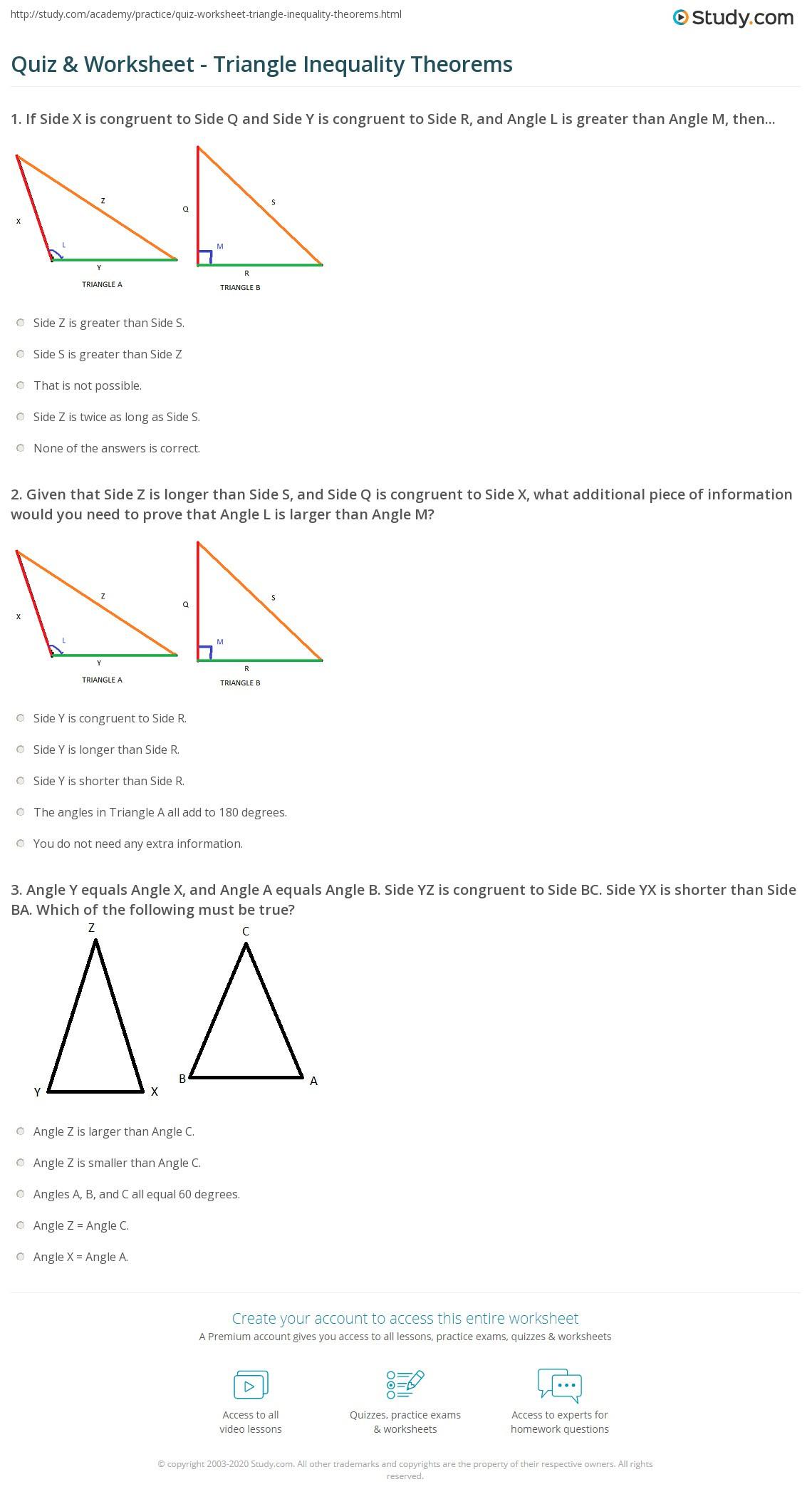 Triangle Inequality theorem Worksheet Quiz & Worksheet Triangle Inequality theorems