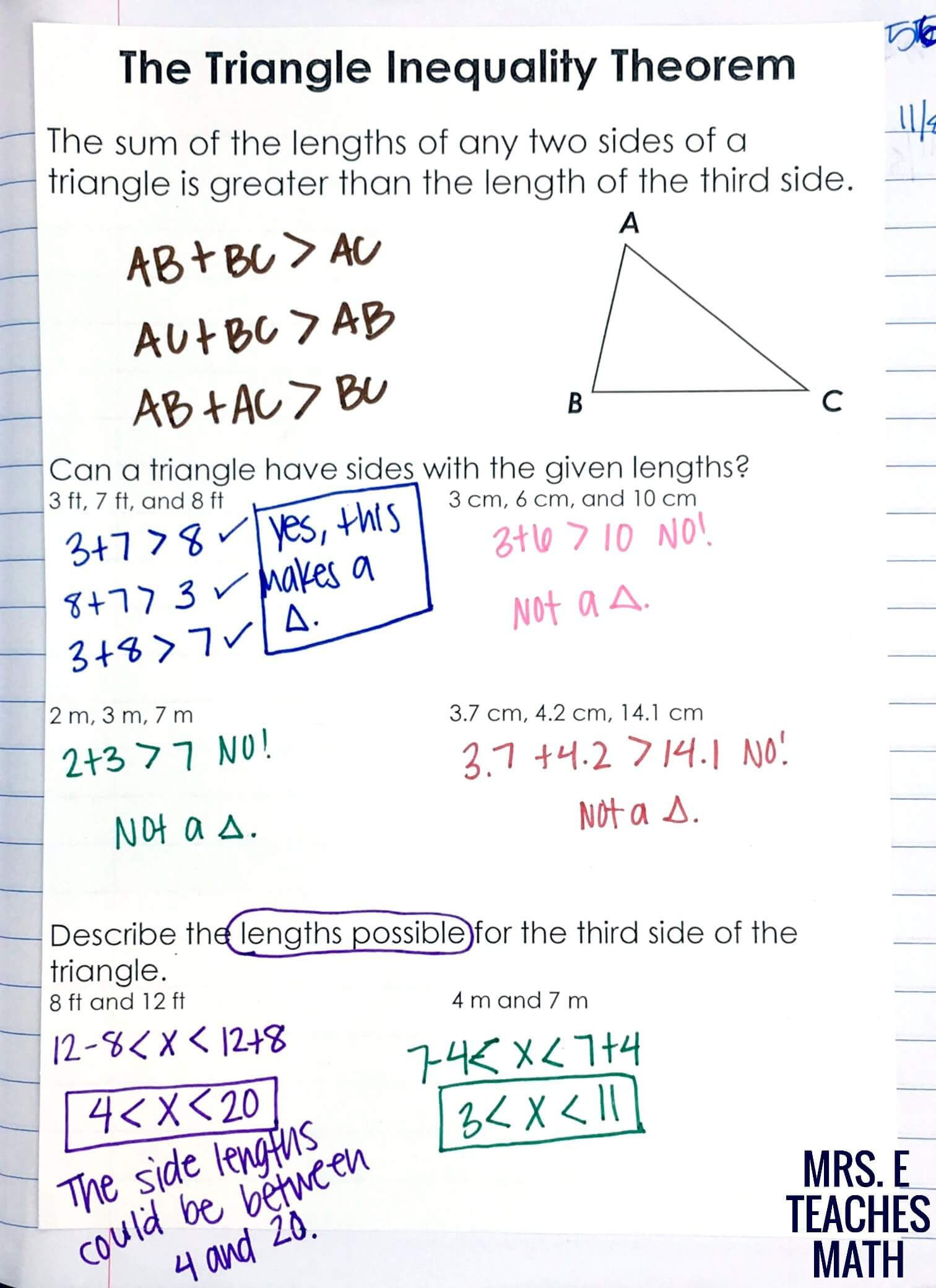 Triangle Inequality theorem Worksheet Relationships In Triangles Inb Pages