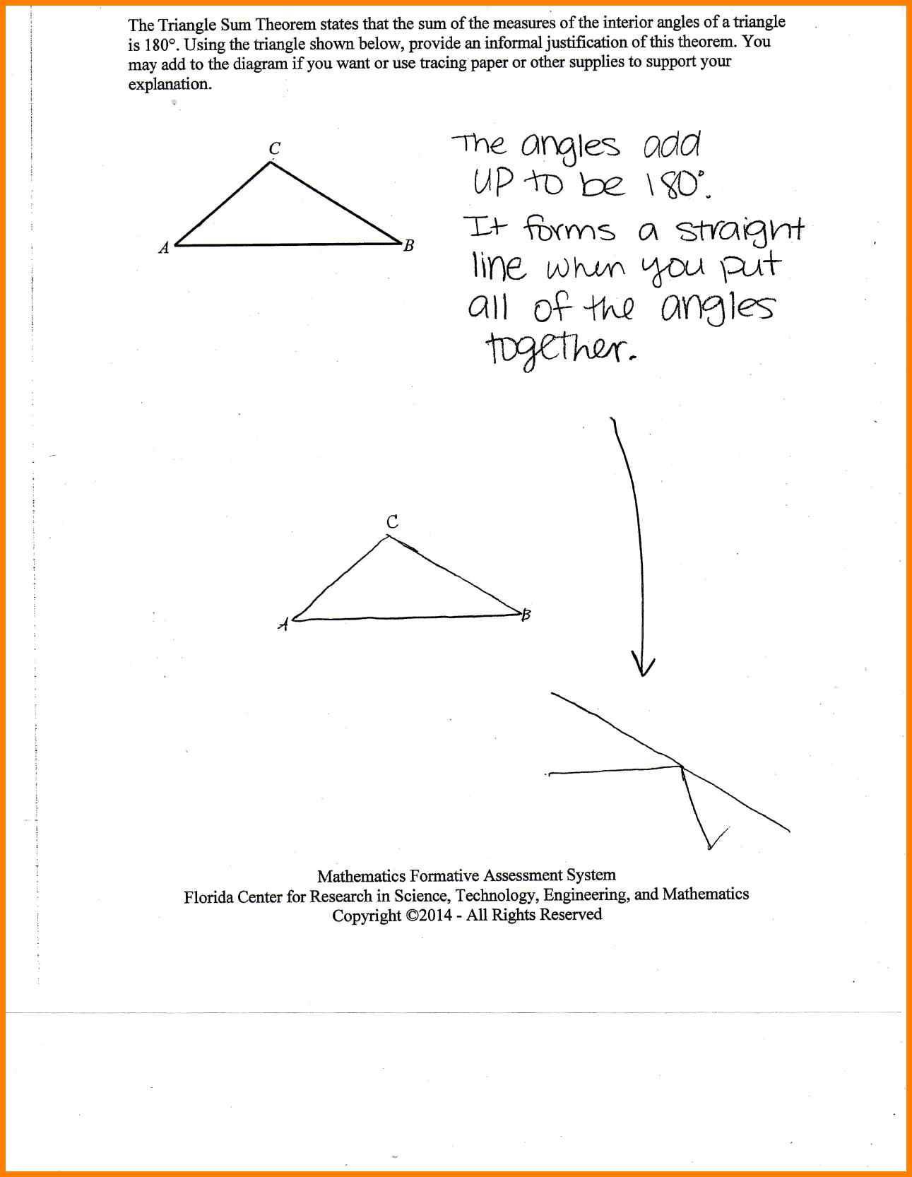 Triangle Inequality theorem Worksheet Triangle Angle Sum theorem Worksheet