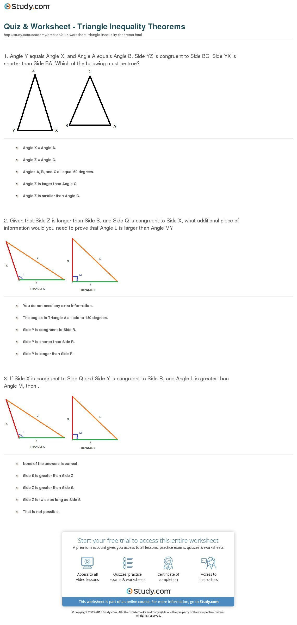 Triangle Inequality theorem Worksheet Triangle Classification Worksheet Printable