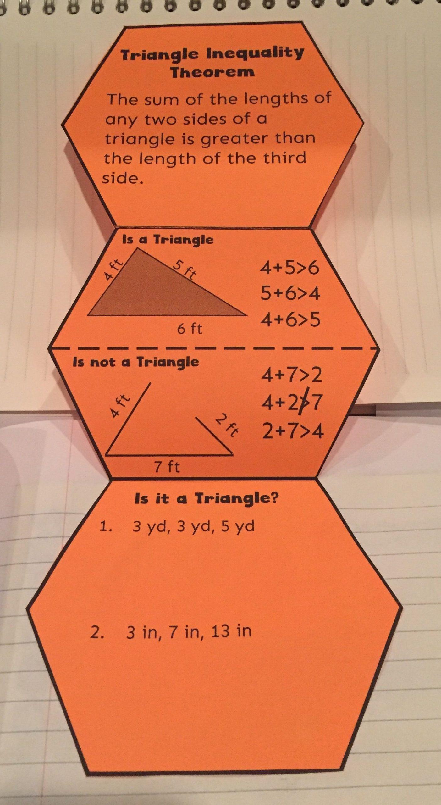 Triangle Inequality theorem Worksheet Triangle Inequality theorem Notes