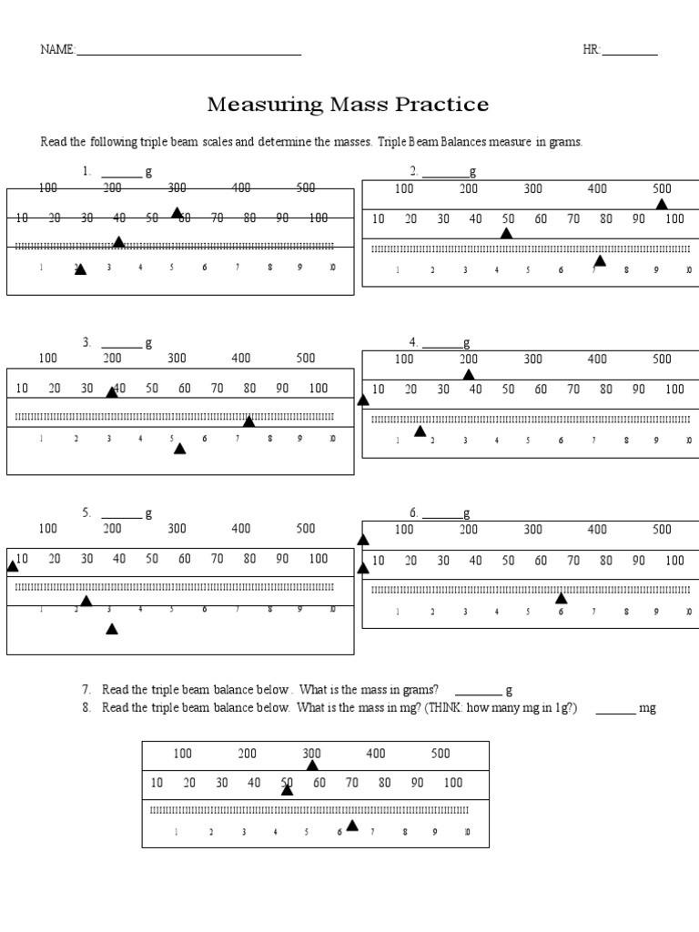Triple Beam Balance Practice Worksheet 11 Measuring Mass Practice Weighing Scale
