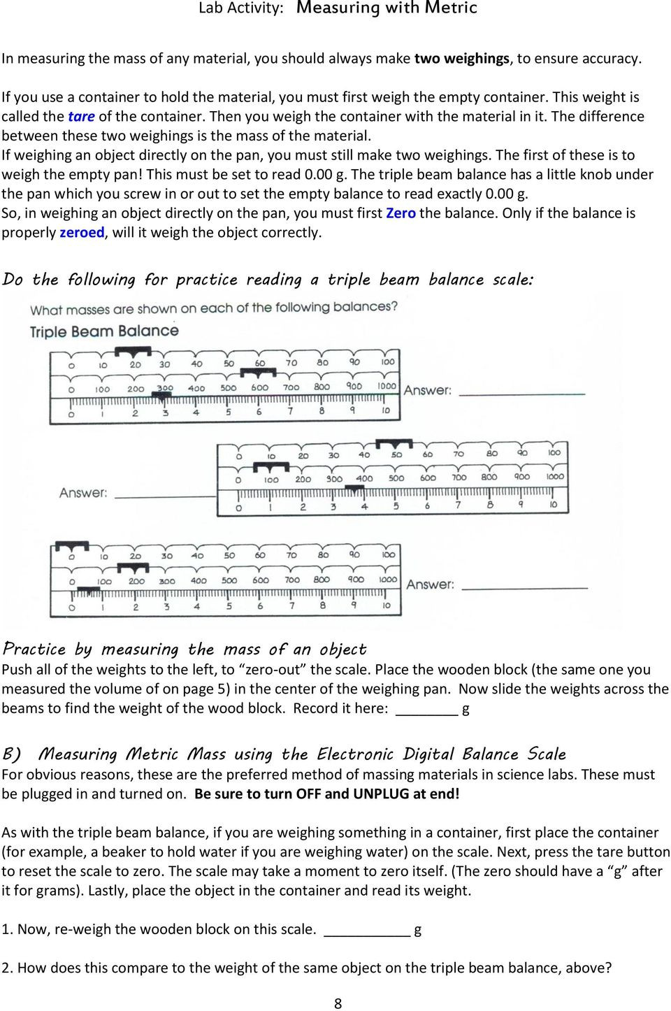 Triple Beam Balance Practice Worksheet Lab Activity Measuring with Metric Introduction Standard