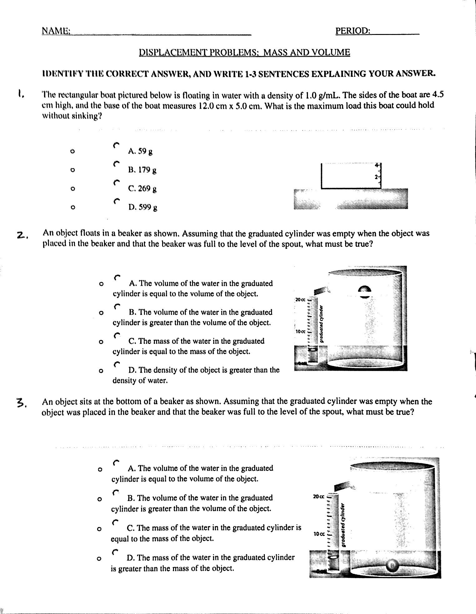 Triple Beam Balance Practice Worksheet Measurement Mass and Volume Mr Gibbs Science